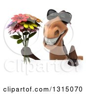 Clipart Of A 3d Brown Horse Wearing Sunglasses And Holding A Bouquet Of Flowers Over A Sign Royalty Free Illustration