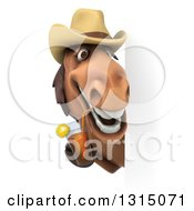 Clipart Of A 3d Brown Cowboy Horse Drinking Tea Around A Sign Royalty Free Illustration by Julos