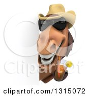 Clipart Of A 3d Brown Cowboy Horse Wearing Sunglasses And Drinking Tea Around A Sign Royalty Free Illustration by Julos