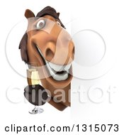 Clipart Of A 3d Brown Horse Holding Champagne Around A Sign Royalty Free Illustration by Julos