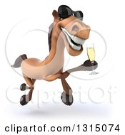 Clipart Of A 3d Brown Horse Wearing Sunglasses And Running With Champagne Royalty Free Illustration by Julos