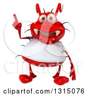 Clipart Of A 3d Red Germ Virus Wearing A White T Shirt Holding Up A Finger Royalty Free Illustration