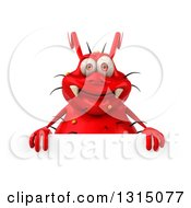 Clipart Of A 3d Red Germ Virus Over A Sign Royalty Free Illustration