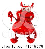 Clipart Of A 3d Red Germ Virus Holding Up A Thumb Down Royalty Free Illustration