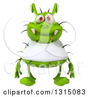 Clipart Of A 3d Green Germ Virus Wearing A White T Shirt Royalty Free Illustration