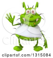 Clipart Of A 3d Green Germ Virus Wearing A White T Shirt Waving Royalty Free Illustration