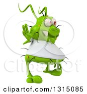 Clipart Of A 3d Green Germ Virus Wearing A White T Shirt Facing Right And Waving Royalty Free Illustration