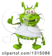 Clipart Of A 3d Green Germ Virus Wearing A White T Shirt Giving A Thumb Up Royalty Free Illustration