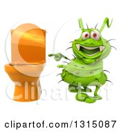 Clipart Of A 3d Green Germ Virus Pointing To A Toilet Royalty Free Illustration