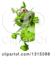 Clipart Of A 3d Full Length Green Germ Pointing Around A Sign Royalty Free Illustration