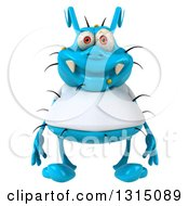 Clipart Of A 3d Blue Germ Virus Wearing A White T Shirt Royalty Free Illustration by Julos