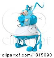 Clipart Of A 3d Blue Germ Virus Wearing A White T Shirt Facing Slightly Left Royalty Free Illustration by Julos