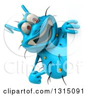Clipart Of A 3d Blue Germ Virus Pointing Around A Sign Royalty Free Illustration by Julos