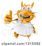 Clipart Of A 3d Yellow Germ Wearing A White Tee Shirt Holding Up A Thumb Royalty Free Illustration