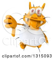 Clipart Of A 3d Yellow Germ Wearing A White Tee Shirt Holding Up A Thumb Down Royalty Free Illustration