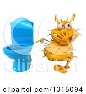Clipart Of A 3d Yellow Germ Virus Plugging His Nose And Pointing To A Toilet Royalty Free Illustration