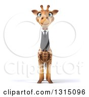 Clipart Of A 3d Business Giraffe Royalty Free Illustration