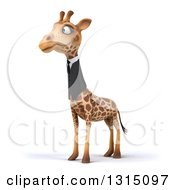 Clipart Of A 3d Business Giraffe Facing Slightly Left Royalty Free Illustration