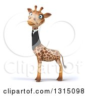 Clipart Of A 3d Business Giraffe Facing Left And Looking At The Viewer Royalty Free Illustration