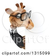 Clipart Of A 3d Bespectacled Business Giraffe Looking Around A Sign Royalty Free Illustration