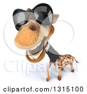 Clipart Of A 3d Business Giraffe Wearing Sunglasses And Looking Up Royalty Free Illustration