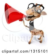 Clipart Of A 3d Bespectacled Business Giraffe Announcing Up To The Left With A Megaphone Royalty Free Illustration