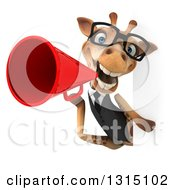 Clipart Of A 3d Bespectacled Business Giraffe Announcing With A Megaphone Around A Sign Royalty Free Illustration