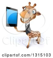 Clipart Of A 3d Business Giraffe Holding Up A Smart Cell Phone Royalty Free Illustration
