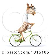 Clipart Of A 3d Bespectacled Doctor Or Veterinary Giraffe Riding A Bicycle To The Right Royalty Free Illustration
