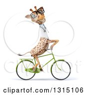 Clipart Of A 3d Bespectacled Doctor Or Veterinary Giraffe Riding A Bicycle To The Right 2 Royalty Free Illustration