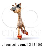 Clipart Of A 3d Giraffe Wearing Sunglasses And Roller Blading Royalty Free Illustration