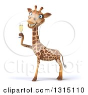 Clipart Of A 3d Giraffe Holding A Glass Of Champagne Royalty Free Illustration by Julos