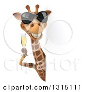 Clipart Of A 3d Giraffe Wearing Sunglasses And Holding A Glass Of Champagne Around A Signc Royalty Free Illustration by Julos