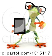 Clipart Of A 3d Bespectacled Argie Frog Pointing To And Holding A Smart Phone Or Tablet Computer Royalty Free Illustration