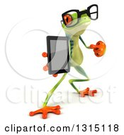 Clipart Of A 3d Bespectacled Argie Frog Facing Slightly Right Pointing To And Holding A Smart Phone Or Tablet Computer Royalty Free Illustration