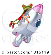 Clipart Of A 3d Green Female Frog Riding A Rocket Royalty Free Illustration by Julos