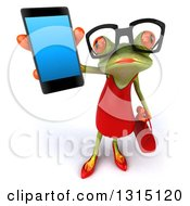 Clipart Of A 3d Bespectacled Green Female Springer Frog Holding Up A Smart Cell Phone Royalty Free Illustration