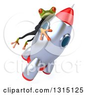 Clipart Of A 3d Green Business Springer Frog Riding A Rocket To The Right 2 Royalty Free Illustration by Julos