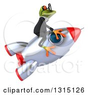 Clipart Of A 3d Bespectacled Green Business Springer Frog Riding A Rocket Royalty Free Illustration by Julos