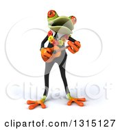 Clipart Of A 3d Green Business Springer Frog Wearing A Hawaiian Lei And Playing A Ukulele 4 Royalty Free Illustration