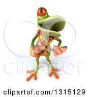 Clipart Of A 3d Green Springer Frog Musician Wearing A Lei And Playing A Ukulele 2 Royalty Free Illustration