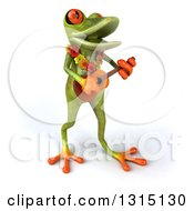 Clipart Of A 3d Green Springer Frog Musician Wearing A Lei And Playing A Ukulele 3 Royalty Free Illustration