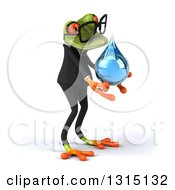 Clipart Of A 3d Bespectacled Green Business Springer Frog Facing Right And Holding A Water Drop Royalty Free Illustration