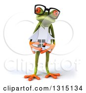 Clipart Of A 3d Bespectacled Green Springer Frog Holding A House Royalty Free Illustration