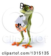Clipart Of A 3d Bespectacled Green Springer Frog Facing Left And Holding A House Royalty Free Illustration
