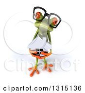 Clipart Of A 3d Bespectacled Green Springer Frog Looking Up And Holding A House Royalty Free Illustration