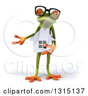 Clipart Of A 3d Bespectacled Green Springer Frog Presenting And Holding A House Royalty Free Illustration