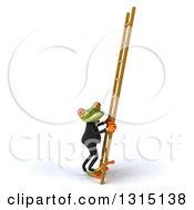 Clipart Of A 3d Green Business Springer Frog Moving A Ladder Royalty Free Illustration