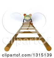 Clipart Of A 3d Green Business Springer Frog Looking Up And Climbing A Ladder 2 Royalty Free Illustration