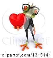 Clipart Of A 3d Bespectacled Green Business Springer Frog Prince Holding A Red Love Heart Royalty Free Illustration